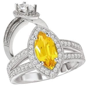 lab-grown yellow sapphire engagement ring marquise cut with diamond halo
