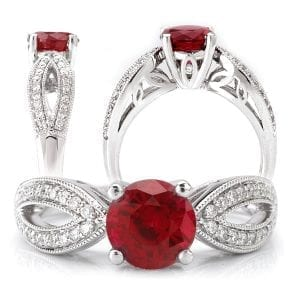 Round Chatham lab-grown ruby engagement ring