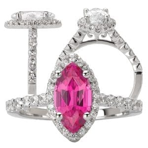 Chatham marquise cut pink sapphire engagement ring