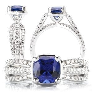 117072bs Square Cushion Cut Chatham Blue Sapphire Engagement Ring