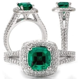 117101em Square Cushion Cut Chatham Emerald Engagement Ring
