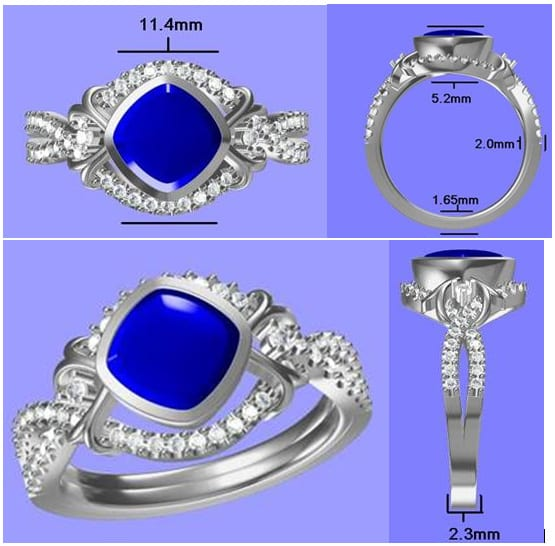 Gorgeous Blue Sapphire Infinity Design Engagement Ring