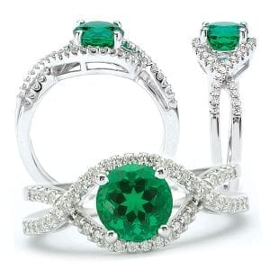 Chatham created round emerald and diamond engagement ring