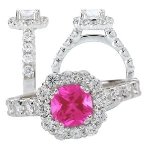 Chatham cushion cut pink sapphire and diamond halo engagement ring
