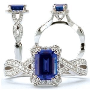 Chatham emerald cut lab-grown blue sapphire engagement ring