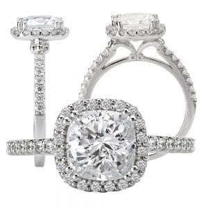 117420-100 cushion cut diamond semi-mount engagement ring