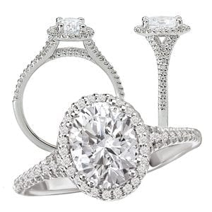 117424 Oval diamond semi-mount engagement ring