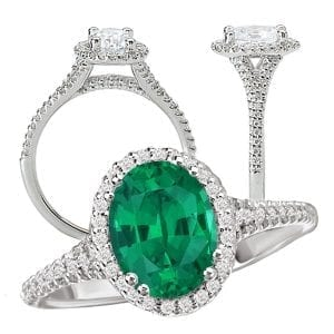 117424em Oval Chatham Emerald Engagement Ring
