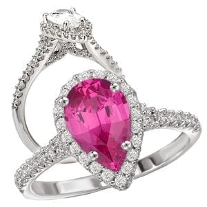 Chatham pear shaped pink sapphire and diamond halo engagement ring