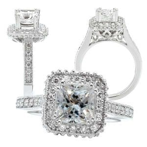 117705 princess cut semi-mount engagement ring