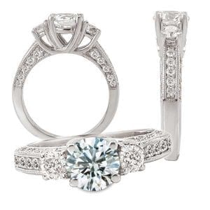 117743 Three-stone diamond semi-mount engagement ring