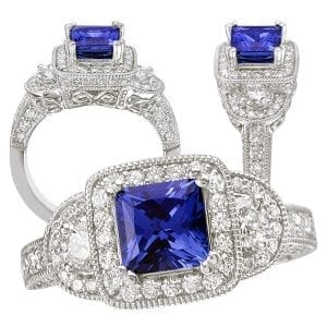 117757bs princess cut Chatham blue sapphire engagement ring