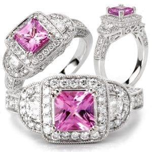 Chatham pink sapphire and diamond halo engagement ring