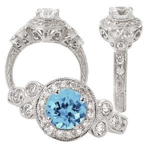 117762aq Round Chatham Aqua Blue Spinel Engagement Ring