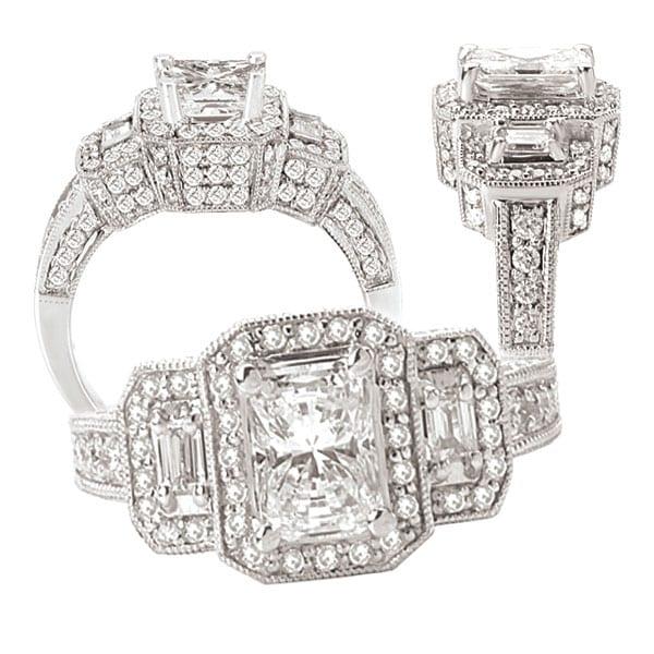 117777 emerald cut diamond semi-mount engagement ring