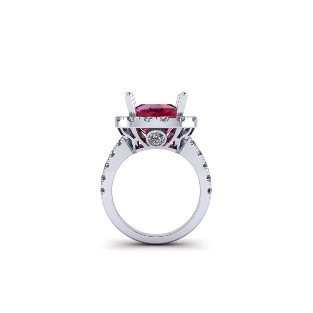 Platinum Cushion Cut Chatham Ruby with Diamond Halo