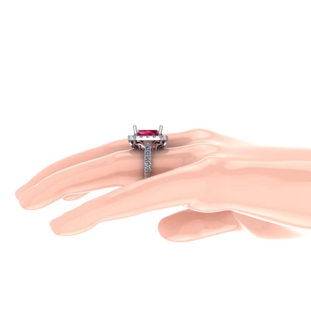 Platinum Cushion Cut Chatham Lab-Grown Ruby with Diamond Halo