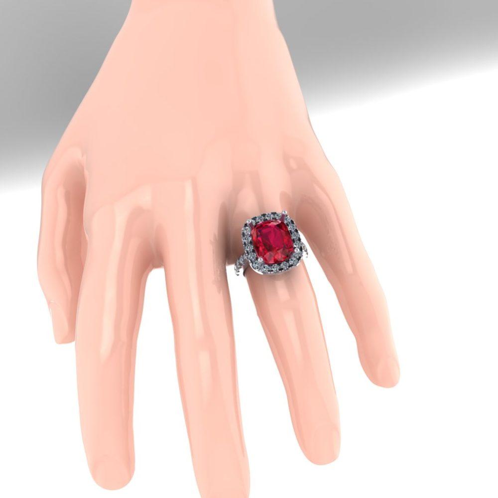 Platinum Cushion Cut Ruby with Diamond Halo