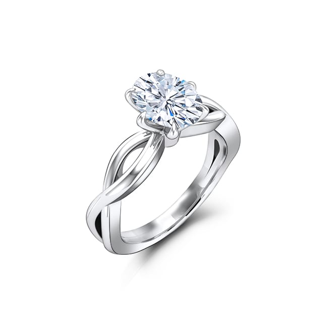Oval moissanite engagement ring with Charles and Colvard Forever One