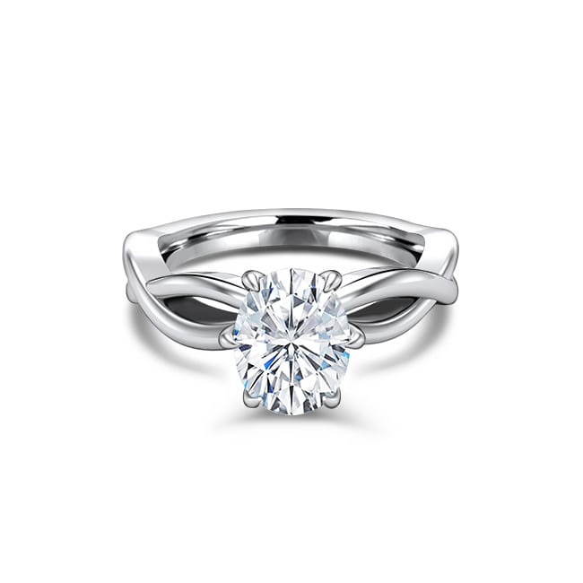 Oval solitaire Forever One moissanite engagement ring