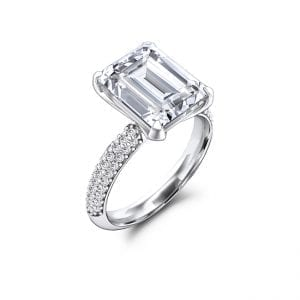 Charles and Colvard Forever One Emerald Cut Moissanite Engagement Ring