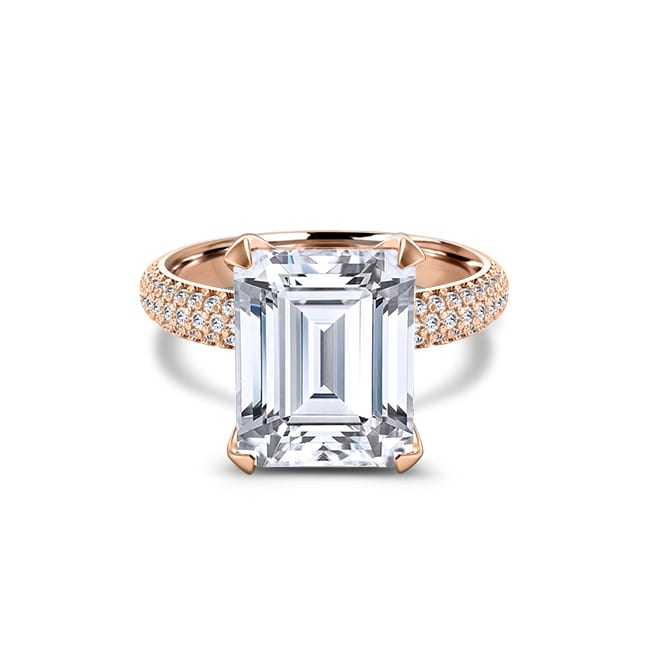 Forever One Emerald Cut Moissanite Engagement Ring