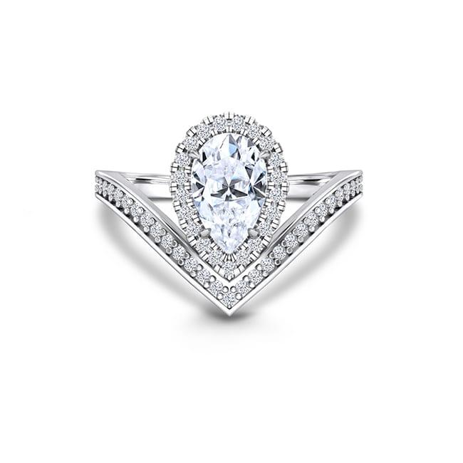 Forever One Pear Shape Moissanite Engagement Rings