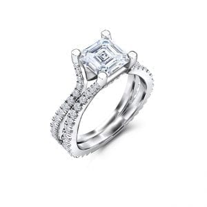 GDB-0071-1 Forever One Asscher Cut Moissanite Engagement Rings