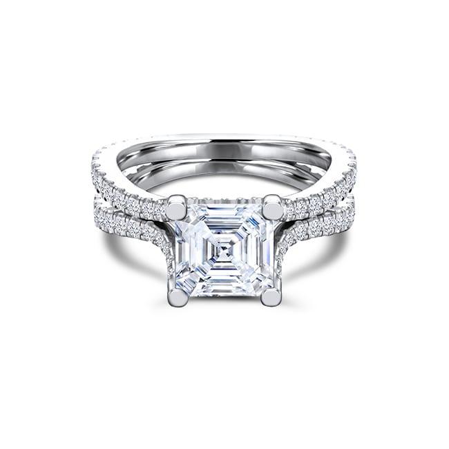 GDB-0071-4 Asscher cut Forever One moissanite engagement ring