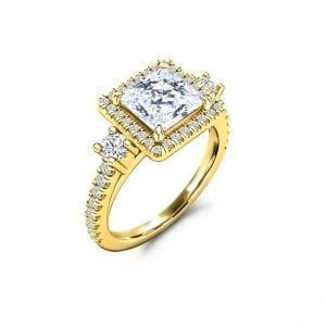 Yellow gold princess cut halo style Forever One moissanite engagement ring