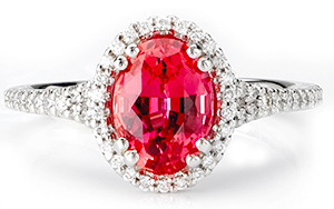 Oval Chatham Padparadscha Ring