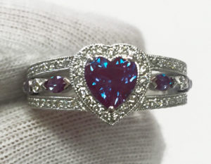 Custom engagement ring with Chatham Heart Alexandrite