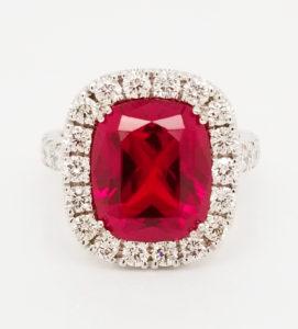 Platinum antique cushion cut Chatham ruby ring