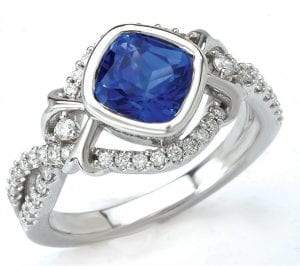 Custom Chatham Blue Sapphire And Diamond Ring