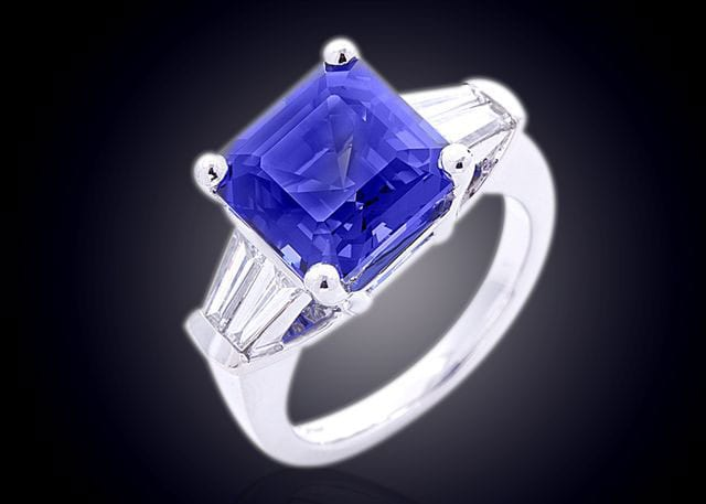 Finished Asscher Cut Blue Sapphire And Tapered Baguette Diamonds Ring
