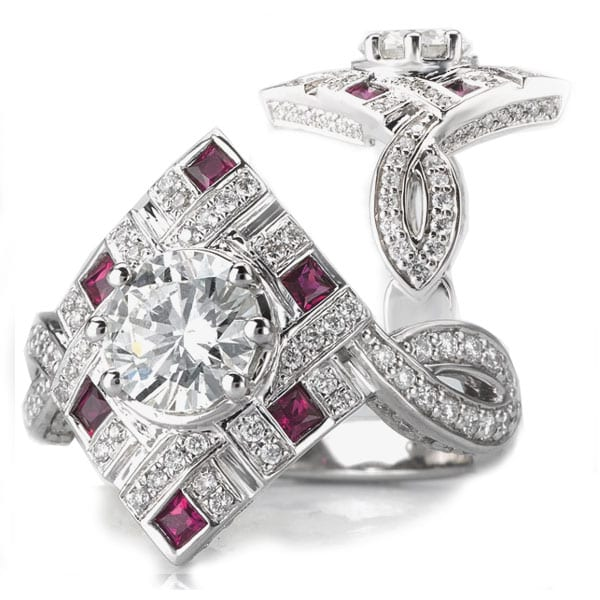 Finished art deco diamond and ruby engagement ring