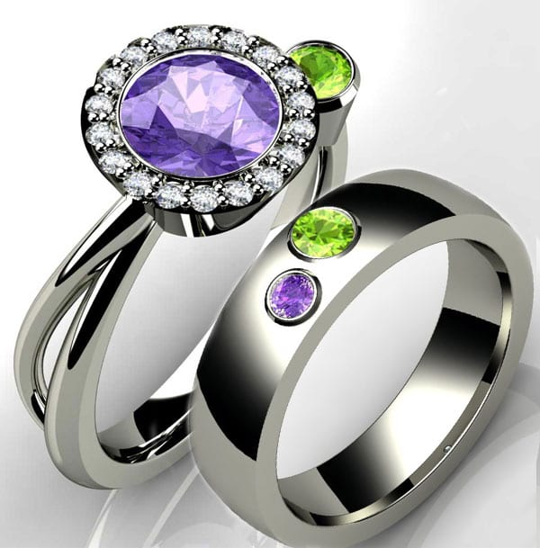 Birthstone Engagement Ring with amethyst and peridot in 14k white gold