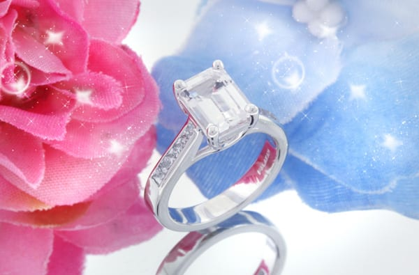 Emerald Cut White Sapphire Engagement Ring