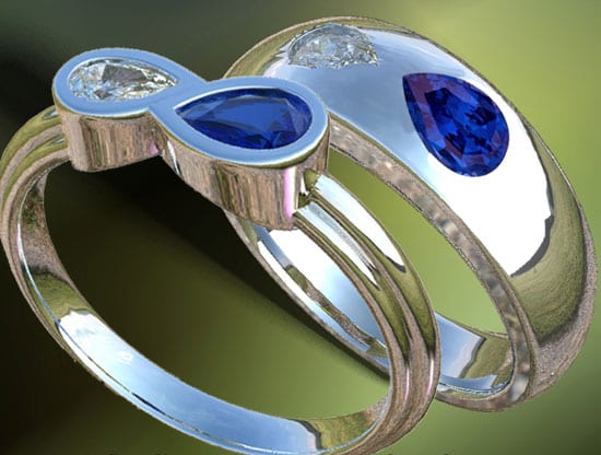Birthstone Engagement Ring with diamond and blue sappire in 14k white gold