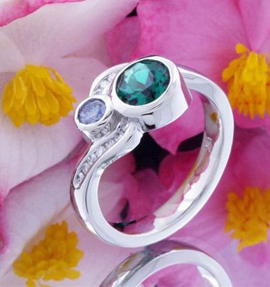 Birthstone Engagement Ring with amethyst and blue topaz in 14k white gold