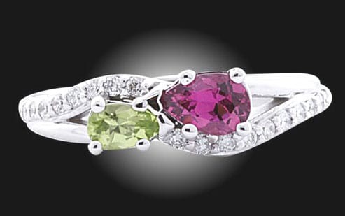 Peridot & Amethyst Eternity Engagement Ring