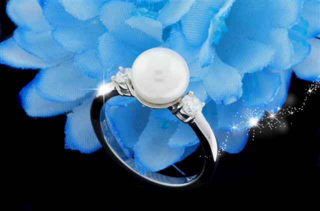 Pearl & Diamond Engagement Ring