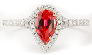 Pear shaped Chatham padparadscha ring
