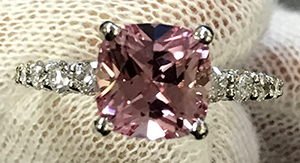 Chatham Pink Champagne Sapphire Ring
