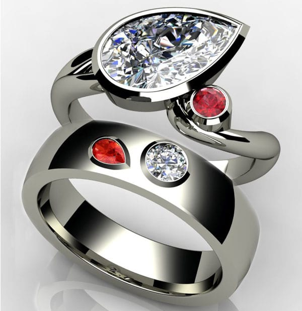 Birthstone Engagement Ring with ruby and diamond in 14k white gold