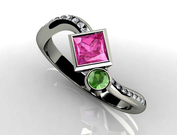 Precious Princess Birthstone Engagement Ring With Diamonds