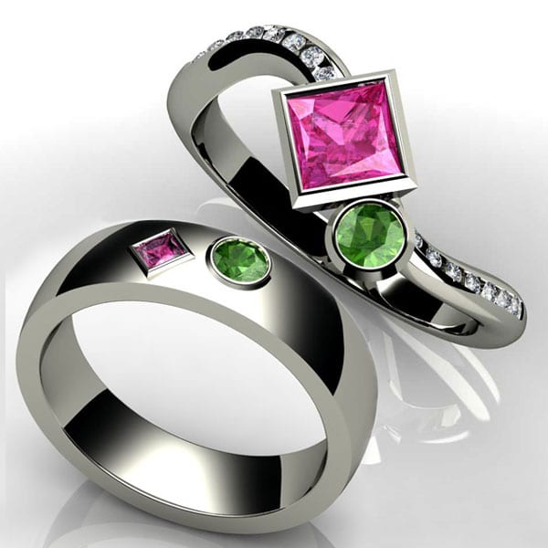 Birthstone Engagement Ring with peridot and pink tourmaline in 14k white gold