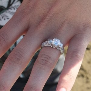 Taylor and Liz Round diamond semi-mount engagement ring