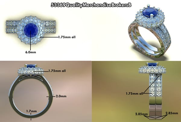 Blue Sapphire & Diamond Halo Engagement Ring