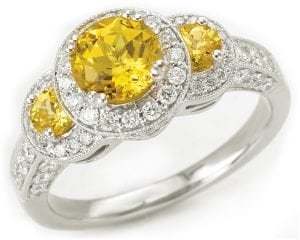Custom Chatham-created yellow sapphire engagement ring